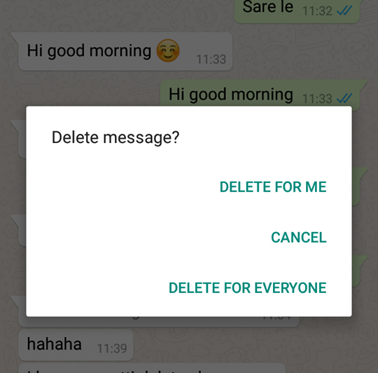 Whatsapp new feature Delete For Everyone.