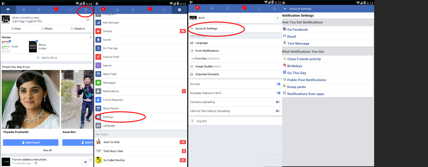 Facebook Notification Settings for Mobile