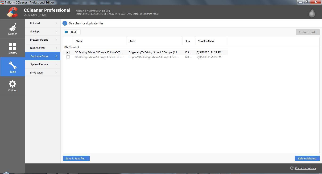 delete duplicate files with CCleaner